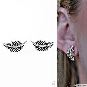 Flying Feathers - Silver Feather Post Earrings
